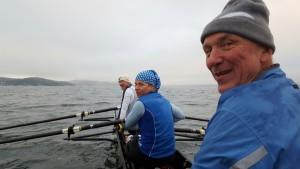 Dobbeltfirer på fjorden. Morten Grepperud på stroke. Antje Peine, Per Giltvedt  og Espen Treider fyllte opp resten av båten.
