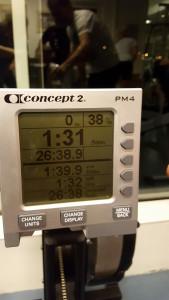 8000 meter ble rodd på 26:38:9 med et snitt på 1:39:9.