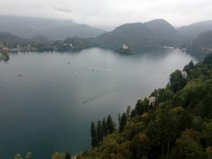 Regattabanen sett fra borgen over Bled.